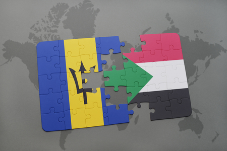 puzzle with the national flag of barbados and sudan on a world map background. 3D illustration