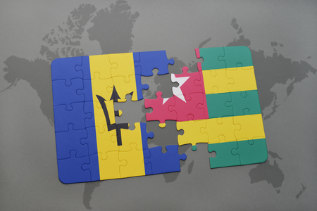 puzzle with the national flag of barbados and togo on a world map background. 3D illustration