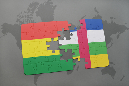 puzzle with the national flag of bolivia and central african republic on a world map background. 3D illustration Banco de Imagens