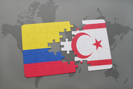 puzzle with the national flag of colombia and northern cyprus on a world map background. 3D illustration
