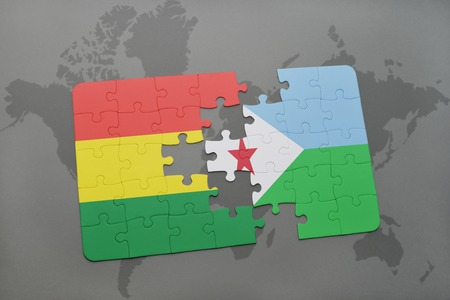 puzzle with the national flag of bolivia and djibouti on a world map background. 3D illustration Banco de Imagens
