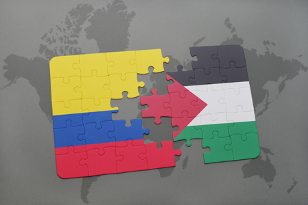 colombian: puzzle with the national flag of colombia and palestine on a world map background. 3D illustration