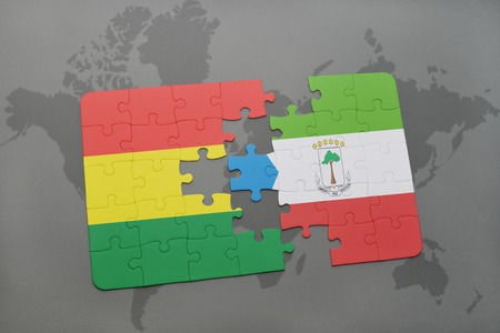 puzzle with the national flag of bolivia and equatorial guinea on a world map background. 3D illustration