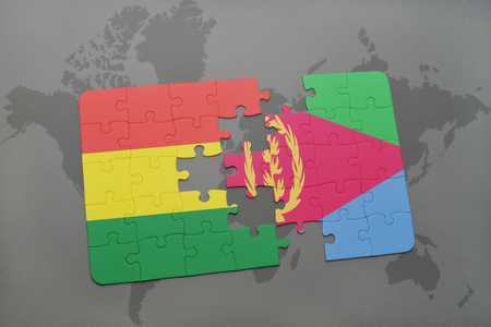 puzzle with the national flag of bolivia and eritrea on a world map background. 3D illustration