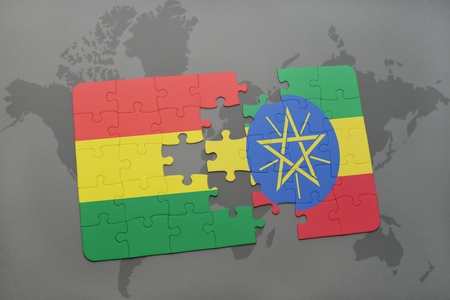 puzzle with the national flag of bolivia and ethiopia on a world map background. 3D illustration Banco de Imagens