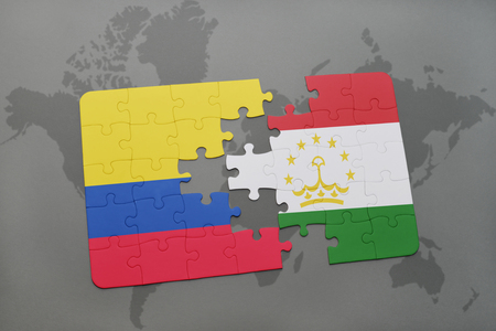 colombian: puzzle with the national flag of colombia and tajikistan on a world map background. 3D illustration