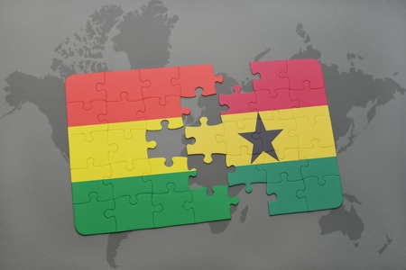 puzzle with the national flag of bolivia and ghana on a world map background. 3D illustration Imagens - 75999771