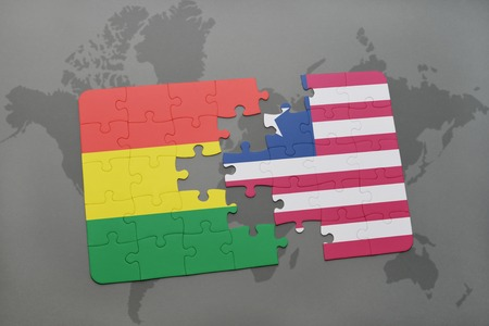 puzzle with the national flag of bolivia and liberia on a world map background. 3D illustration
