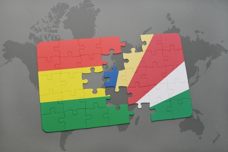 puzzle with the national flag of bolivia and seychelles on a world map background. 3D illustration