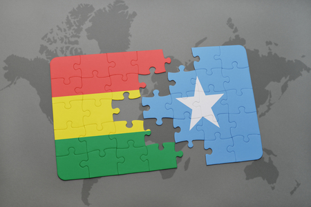 puzzle with the national flag of bolivia and somalia on a world map background. 3D illustration Imagens - 76001455