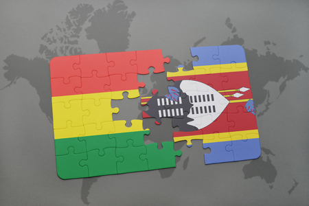 puzzle with the national flag of bolivia and swaziland on a world map background. 3D illustration