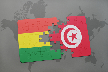 puzzle with the national flag of bolivia and tunisia on a world map background. 3D illustration