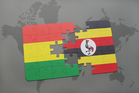 puzzle with the national flag of bolivia and uganda on a world map background. 3D illustration