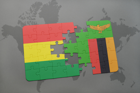 puzzle with the national flag of bolivia and zambia on a world map background. 3D illustration Banco de Imagens