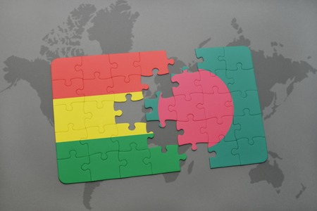 puzzle with the national flag of bolivia and bangladesh on a world map background. 3D illustration