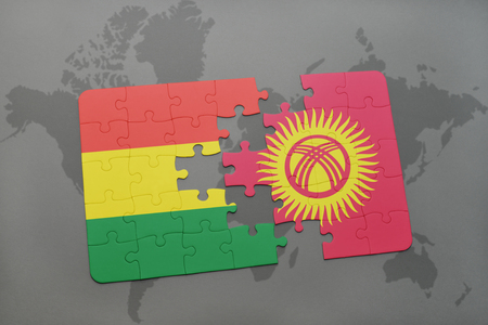 puzzle with the national flag of bolivia and kyrgyzstan on a world map background. 3D illustration
