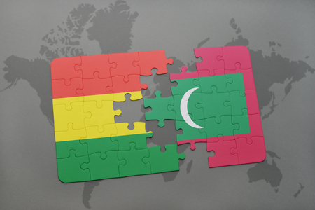 puzzle with the national flag of bolivia and maldives on a world map background. 3D illustration Imagens - 76001542