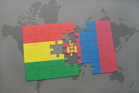 puzzle with the national flag of bolivia and mongolia on a world map background. 3D illustration