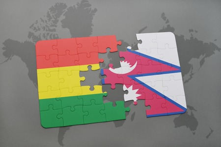 puzzle with the national flag of bolivia and nepal on a world map background. 3D illustration