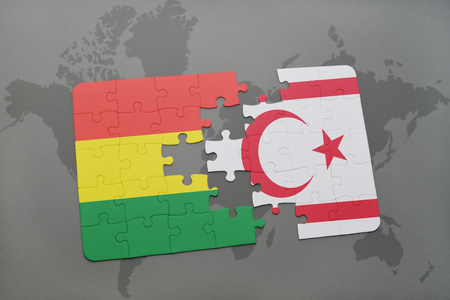 puzzle with the national flag of bolivia and northern cyprus on a world map background. 3D illustration