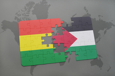 puzzle with the national flag of bolivia and palestine on a world map background. 3D illustration