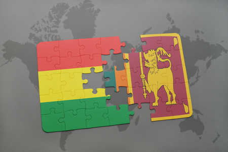 puzzle with the national flag of bolivia and sri lanka on a world map background. 3D illustration Banco de Imagens