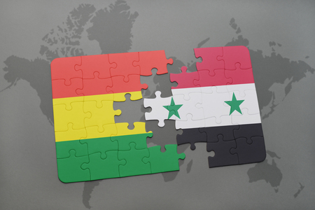 puzzle with the national flag of bolivia and syria on a world map background. 3D illustration