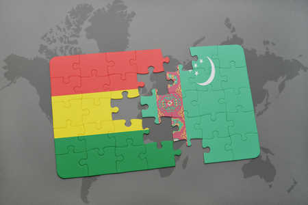 puzzle with the national flag of bolivia and turkmenistan on a world map background. 3D illustration