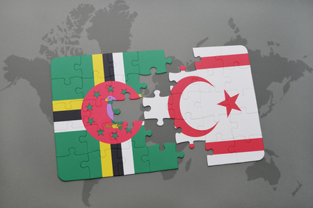 puzzle with the national flag of dominica and northern cyprus on a world map background. 3D illustration