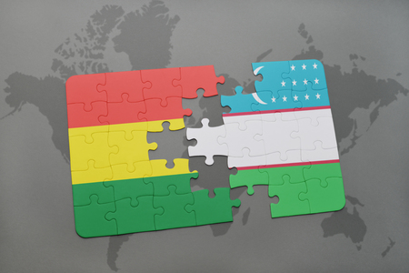 puzzle with the national flag of bolivia and uzbekistan on a world map background. 3D illustration Imagens - 76001926