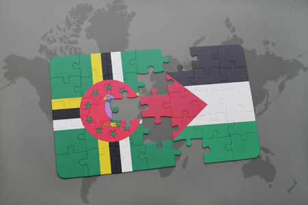 puzzle with the national flag of dominica and palestine on a world map background. 3D illustration