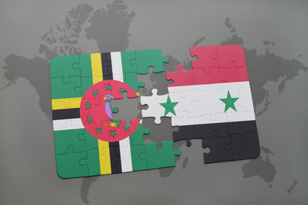 puzzle with the national flag of dominica and syria on a world map background. 3D illustration