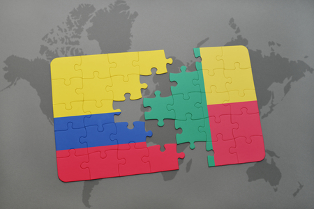 puzzle with the national flag of colombia and benin on a world map background. 3D illustration