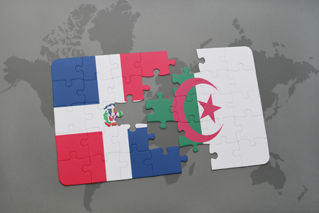 puzzle with the national flag of dominican republic and algeria on a world map background. 3D illustration
