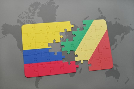 puzzle with the national flag of colombia and republic of the congo on a world map background. 3D illustration