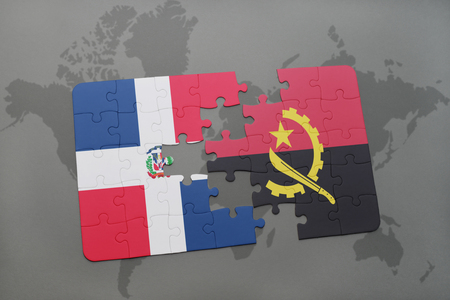 dominican: puzzle with the national flag of dominican republic and angola on a world map background. 3D illustration