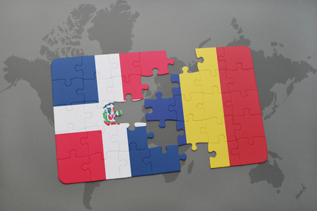 puzzle with the national flag of dominican republic and chad on a world map background. 3D illustration Banco de Imagens