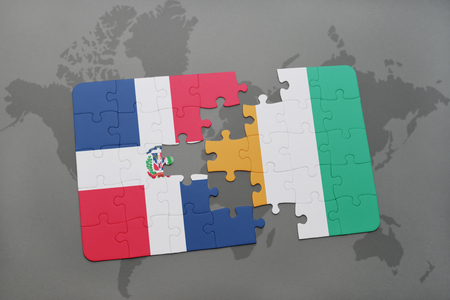 puzzle with the national flag of dominican republic and cote divoire on a world map background. 3D illustration