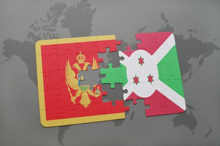 puzzle with the national flag of montenegro and burundi on a world map background. 3D illustration