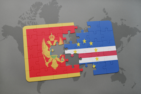 puzzle with the national flag of montenegro and cape verde on a world map background. 3D illustration