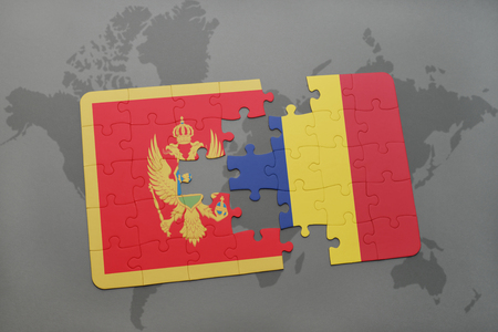 puzzle with the national flag of montenegro and chad on a world map background. 3D illustration