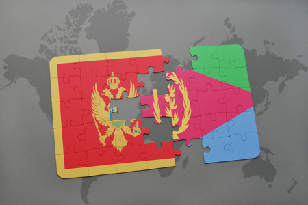 puzzle with the national flag of montenegro and eritrea on a world map background. 3D illustration