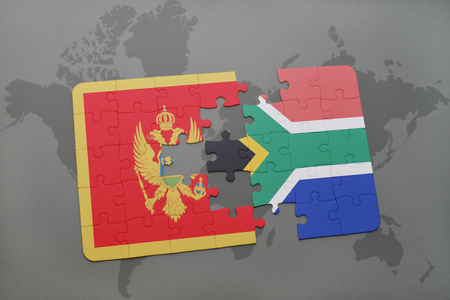 puzzle with the national flag of montenegro and south africa on a world map background. 3D illustration Stock Photo