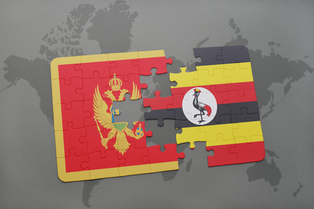 kampala: puzzle with the national flag of montenegro and uganda on a world map background. 3D illustration