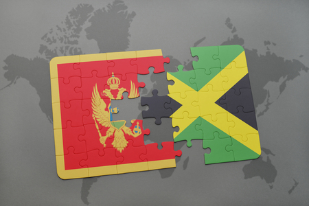 puzzle with the national flag of montenegro and jamaica on a world map background. 3D illustration Stock Photo