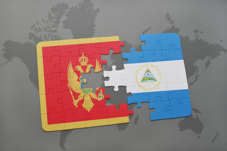 puzzle with the national flag of montenegro and nicaragua on a world map background. 3D illustration