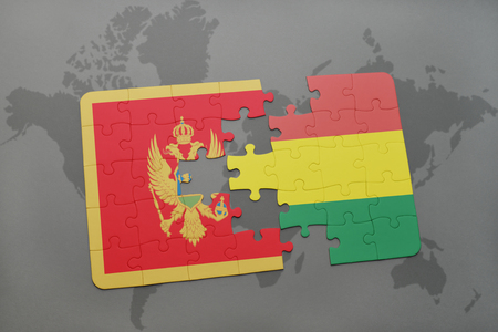 puzzle with the national flag of montenegro and bolivia on a world map background. 3D illustration