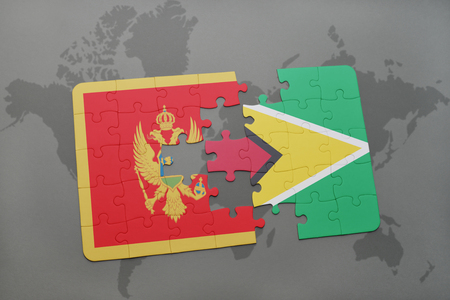 puzzle with the national flag of montenegro and guyana on a world map background. 3D illustration