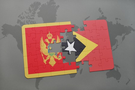 puzzle with the national flag of montenegro and east timor on a world map background. 3D illustration Stock Photo