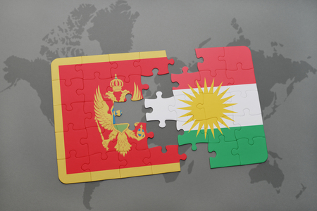 puzzle with the national flag of montenegro and kurdistan on a world map background. 3D illustration Stock Photo